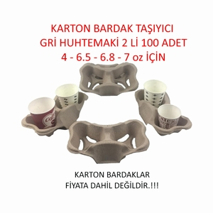 KARTON BARDAK TAŞIYICI GRİ 2 Lİ 100 ADET HUHTEMAKİ