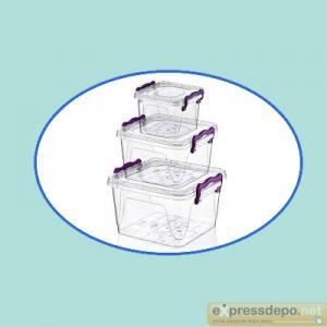 SAKLAMA KABI 3 LÜ KARE MULTİ SET (0,55+1,2+2,4 LT)