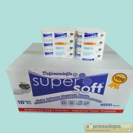 SUPER SOFT DİSPENSER PEÇETE 4500 YAPRAK EXTRASOFT YENİ*